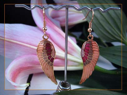 14k gold plated enamel pink angel wing dangle earrings 4330